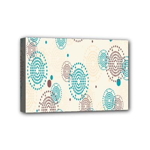 Small Circle Blue Brown Mini Canvas 6  x 4