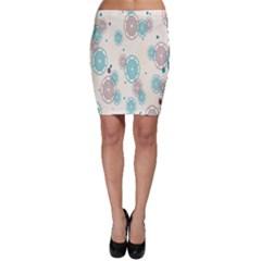 Small Circle Blue Brown Bodycon Skirt