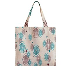 Small Circle Blue Brown Zipper Grocery Tote Bag