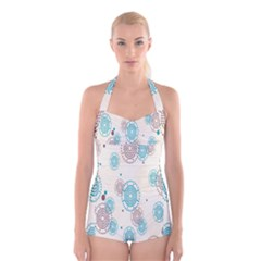 Small Circle Blue Brown Boyleg Halter Swimsuit