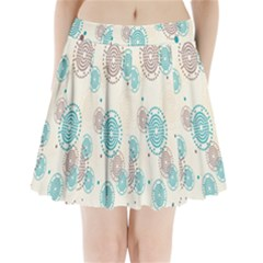 Small Circle Blue Brown Pleated Mini Skirt