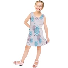 Small Circle Blue Brown Kids  Tunic Dress