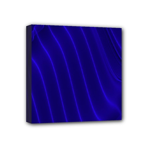 Sparkly Design Blue Wave Abstract Mini Canvas 4  x 4
