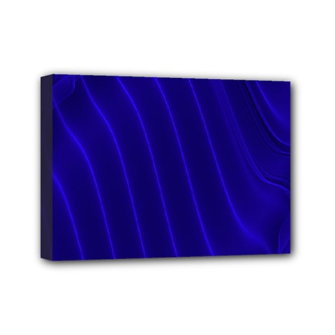 Sparkly Design Blue Wave Abstract Mini Canvas 7  x 5