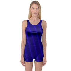Sparkly Design Blue Wave Abstract One Piece Boyleg Swimsuit