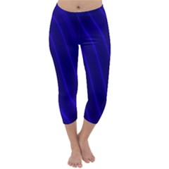 Sparkly Design Blue Wave Abstract Capri Winter Leggings