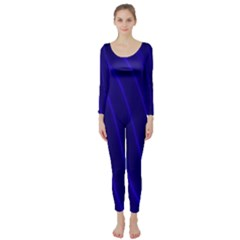 Sparkly Design Blue Wave Abstract Long Sleeve Catsuit
