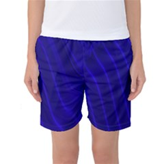 Sparkly Design Blue Wave Abstract Women s Basketball Shorts