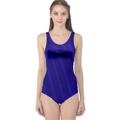 Sparkly Design Blue Wave Abstract One Piece Swimsuit