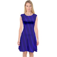 Sparkly Design Blue Wave Abstract Capsleeve Midi Dress