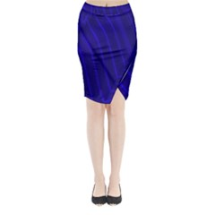 Sparkly Design Blue Wave Abstract Midi Wrap Pencil Skirt