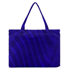 Sparkly Design Blue Wave Abstract Medium Zipper Tote Bag