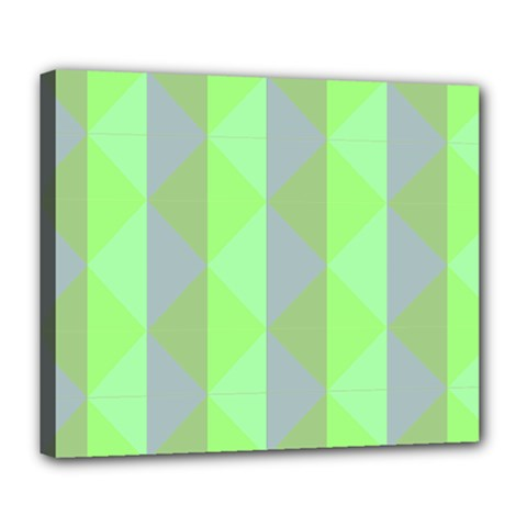 Squares Triangel Green Yellow Blue Deluxe Canvas 24  x 20