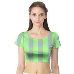 Squares Triangel Green Yellow Blue Short Sleeve Crop Top (Tight Fit)