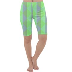 Squares Triangel Green Yellow Blue Cropped Leggings