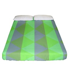 Squares Triangel Green Yellow Blue Fitted Sheet (california King Size)