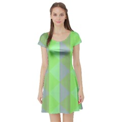 Squares Triangel Green Yellow Blue Short Sleeve Skater Dress