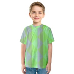 Squares Triangel Green Yellow Blue Kids  Sport Mesh Tee