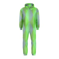 Squares Triangel Green Yellow Blue Hooded Jumpsuit (Kids)