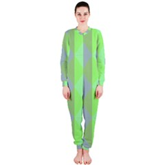 Squares Triangel Green Yellow Blue OnePiece Jumpsuit (Ladies)