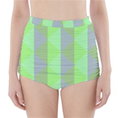 Squares Triangel Green Yellow Blue High-Waisted Bikini Bottoms