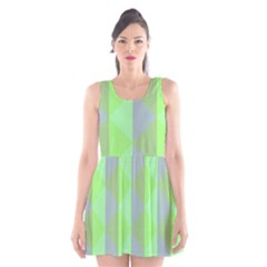 Squares Triangel Green Yellow Blue Scoop Neck Skater Dress