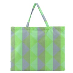 Squares Triangel Green Yellow Blue Zipper Large Tote Bag