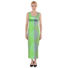 Squares Triangel Green Yellow Blue Fitted Maxi Dress