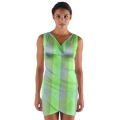 Squares Triangel Green Yellow Blue Wrap Front Bodycon Dress