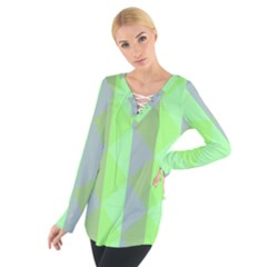 Squares Triangel Green Yellow Blue Women s Tie Up Tee