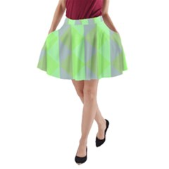 Squares Triangel Green Yellow Blue A-Line Pocket Skirt