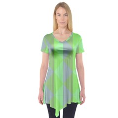 Squares Triangel Green Yellow Blue Short Sleeve Tunic