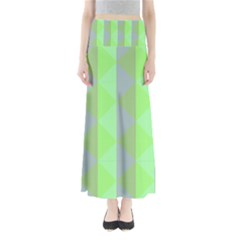 Squares Triangel Green Yellow Blue Maxi Skirts