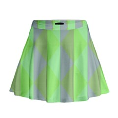 Squares Triangel Green Yellow Blue Mini Flare Skirt