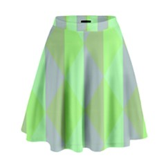 Squares Triangel Green Yellow Blue High Waist Skirt