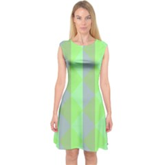Squares Triangel Green Yellow Blue Capsleeve Midi Dress