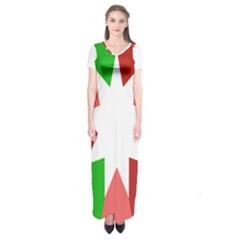 Star Flag Color Short Sleeve Maxi Dress