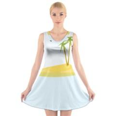 Summer Sea Beach V-Neck Sleeveless Skater Dress