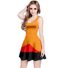 Sunset Orange Simple Minimalis Orange Montain Reversible Sleeveless Dress