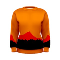 Sunset Orange Simple Minimalis Orange Montain Women s Sweatshirt
