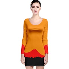Sunset Orange Simple Minimalis Orange Montain Long Sleeve Velvet Bodycon Dress