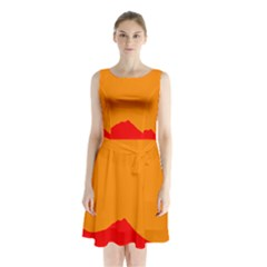 Sunset Orange Simple Minimalis Orange Montain Sleeveless Chiffon Waist Tie Dress