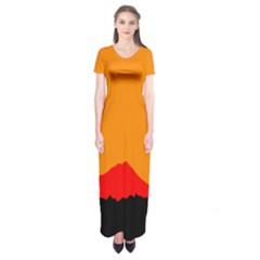 Sunset Orange Simple Minimalis Orange Montain Short Sleeve Maxi Dress