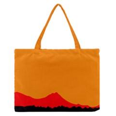Sunset Orange Simple Minimalis Orange Montain Medium Zipper Tote Bag