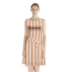 Symmetric Grid Foundation Sleeveless Chiffon Waist Tie Dress