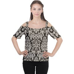 Wild Textures Damask Wall Cover Women s Cutout Shoulder Tee