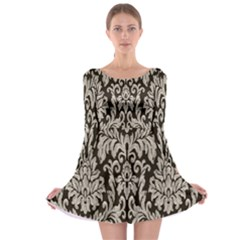 Wild Textures Damask Wall Cover Long Sleeve Skater Dress