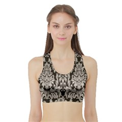Wild Textures Damask Wall Cover Sports Bra with Border