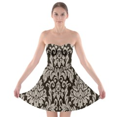 Wild Textures Damask Wall Cover Strapless Bra Top Dress