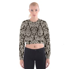 Wild Textures Damask Wall Cover Women s Cropped Sweatshirt